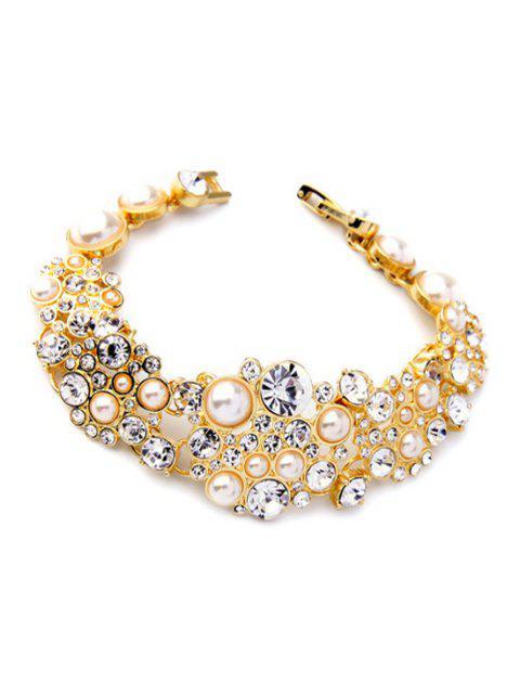 fancy Faux Pearl Chunky Bracelet - GOLDEN  Mobile