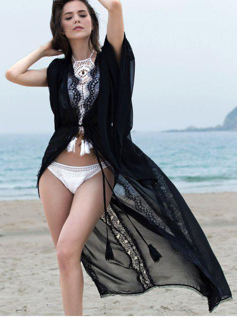 new Openwork Lace Spliced Bell Sleeve Cover Up - BLACK S Mobile