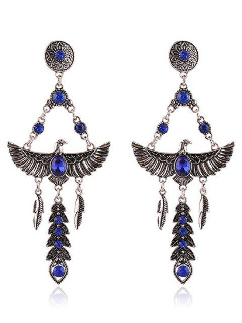 latest Pair of Faux Crystal Decorated Eagle Earrings - SAPPHIRE BLUE  Mobile