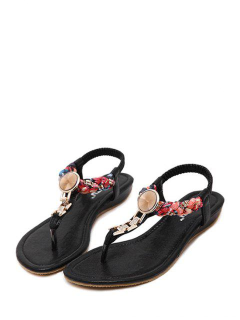 womens Rhinestone Metallic Low Heel Sandals -   Mobile