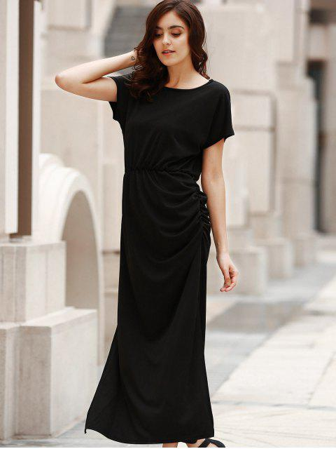 new Open Back Ruched Maxi Dress - BLACK L Mobile