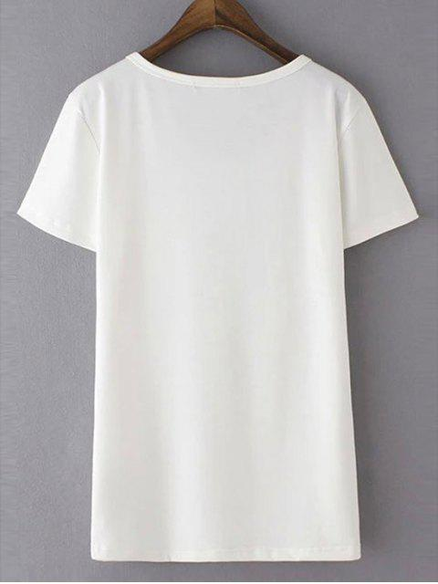 ladies Patchwork Pocket Solid Color T-Shirt - WHITE L Mobile