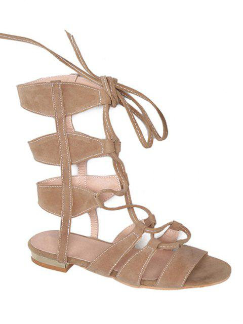 shop Solid Color Lace-Up High Top Sandals - APRICOT 39 Mobile