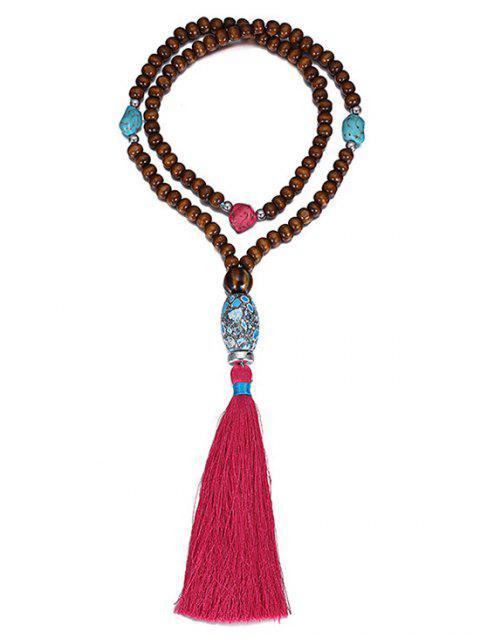 womens Ethnic Bead Tassel Necklace -   Mobile