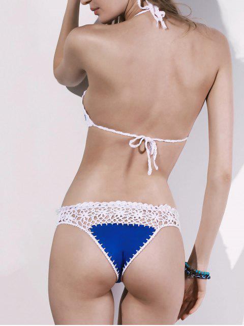 new Hollow Out Spaghetti Straps Crocheted Bikini Set - BLUE ONE SIZE(FIT SIZE XS TO M) Mobile