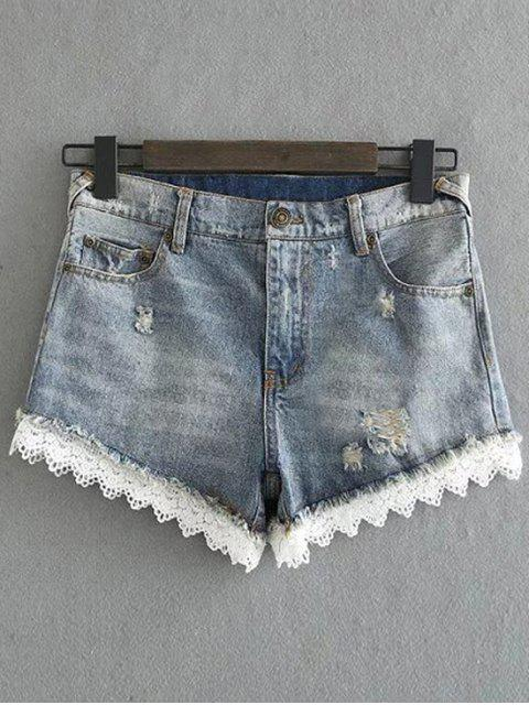 womens Lace Denim Shorts - LIGHT BLUE XL Mobile