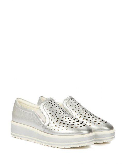 buy Hollow Out Slip-On Platform Shoes - SILVER 39 Mobile