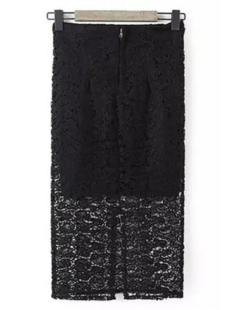 lady Guipure Lace Tube Skirt - BLACK S Mobile