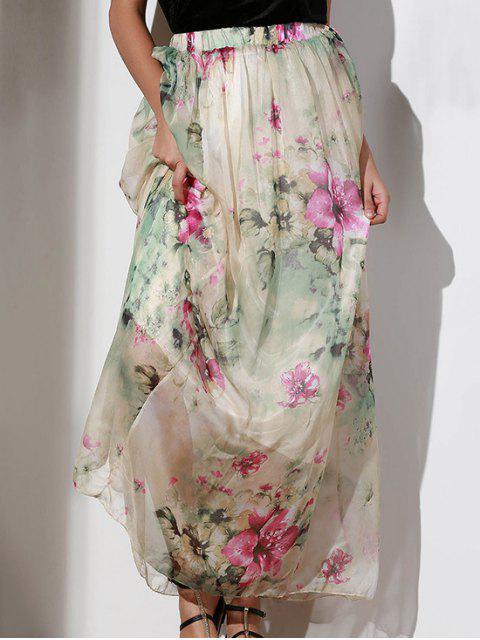women's Floral Elastic Waist A Line Skirt - COLORMIX M Mobile