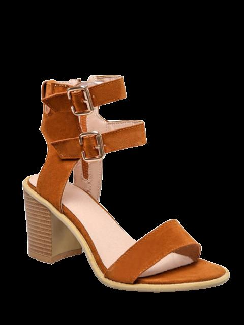 hot Solid Color Double Buckles Chunky Heel Sandals - BROWN 39 Mobile