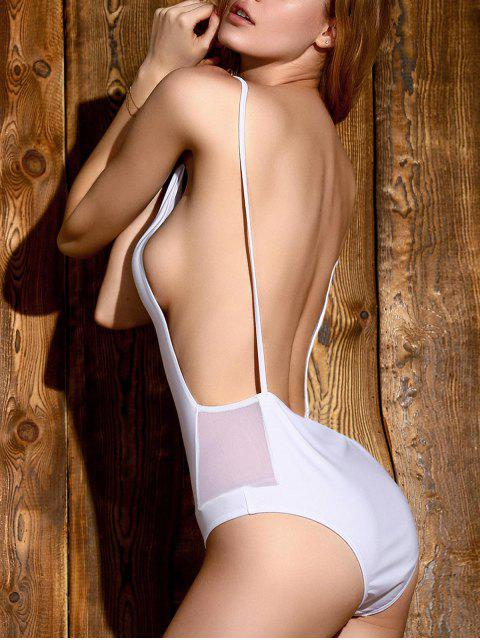 affordable Backless Solid Color Straps One-Piece Swimwear - WHITE S Mobile