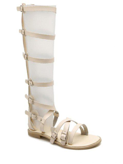 hot Buckles High Top Flat Heel Sandals - OFF-WHITE 39 Mobile