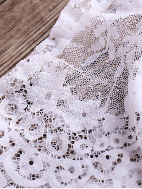 lady Zip Up Lace Cami Bikini Set - WHITE M Mobile