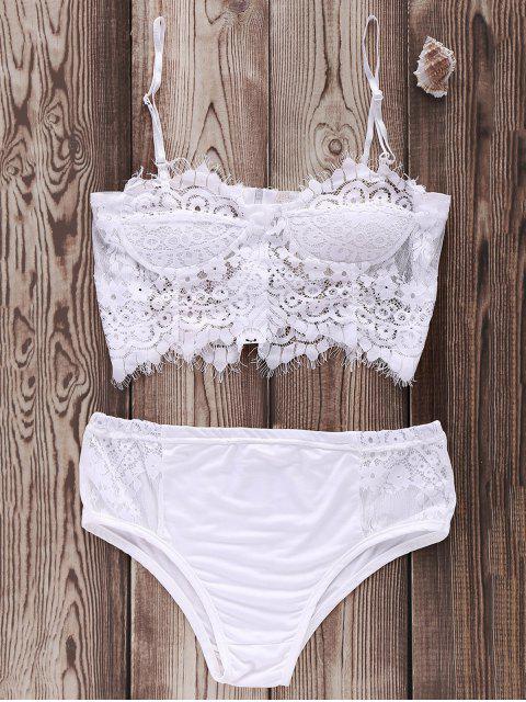 online Zip Up Lace Cami Bikini Set - WHITE XL Mobile