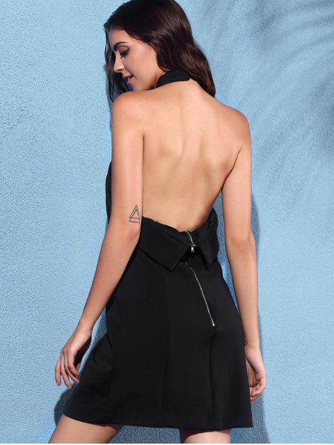 womens Backless Solid Color Cross Halter Sleeveless Dress - BLACK S Mobile