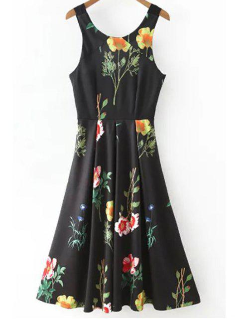 trendy Floral Print Scoop Neck Waisted Dress - BLACK M Mobile