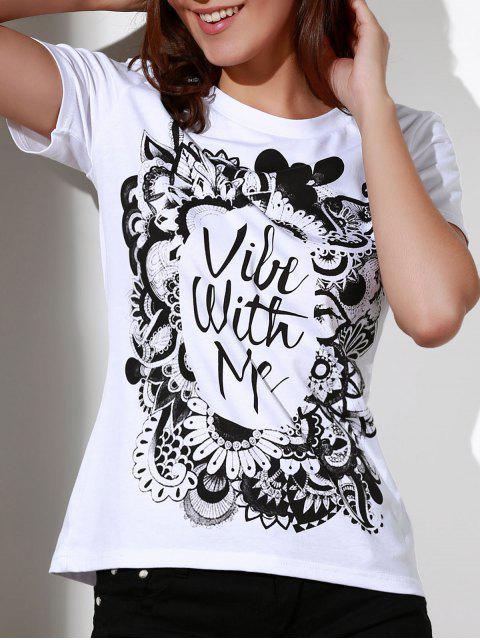 online Patterned White T-Shirt - WHITE 2XL Mobile