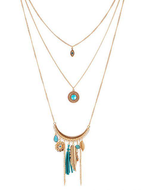 unique Multilayered Rhinestone Decorated Necklace -   Mobile