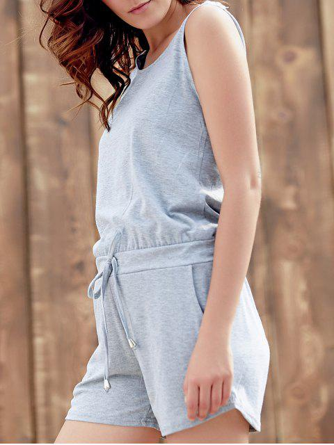 shops Solid Color Scoop Neck Sleeveless Playsuit - GRAY L Mobile