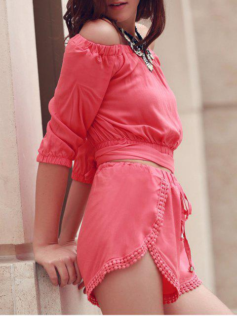 outfit Off The Shoulder Crop Top and Solid Color Shorts Suit - PINK L Mobile