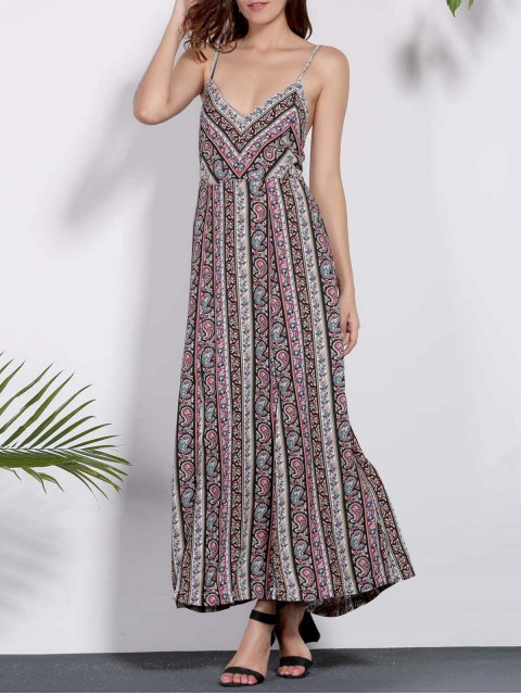buy Backless Spaghetti Straps Printed Dress - COLORMIX S Mobile
