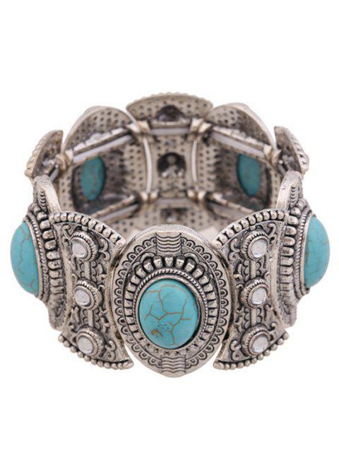 ladies Turquoise Oval Elastic Bracelet -   Mobile