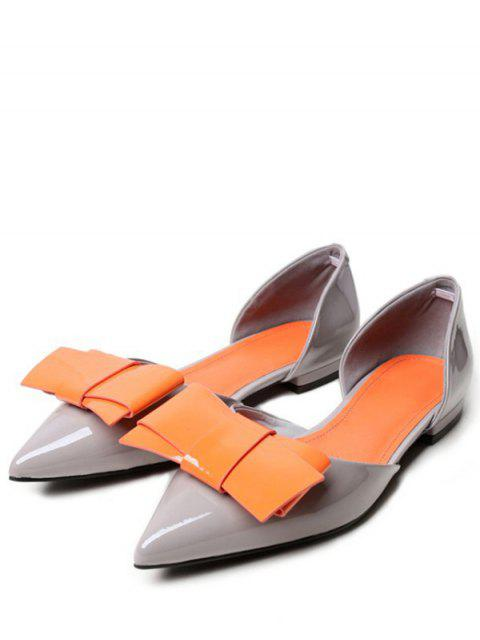 online Two-Piece Color Block Bowknot Flat Shoes - GRAY 37 Mobile