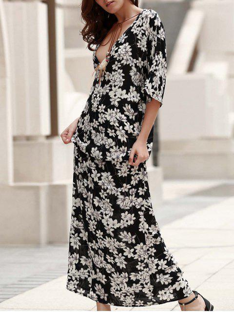 Vestido de Bohemia con Estampado con Cuello en V - Negro L Mobile