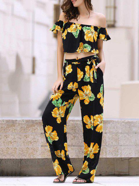 outfit Cold Shoulder Ruffle Crop Top and Palazzo Pants Twinset - BLACK S Mobile
