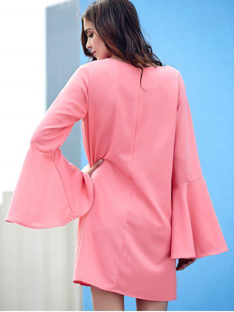 trendy Loose Pink V Neck Flare Sleeve Dress - PINK L Mobile