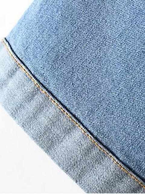 lady Denim Lace Up Turn Down Collar Short Sleeve Dress - BLUE L Mobile