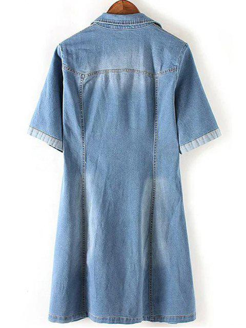 ladies Denim Lace Up Turn Down Collar Short Sleeve Dress - BLUE M Mobile