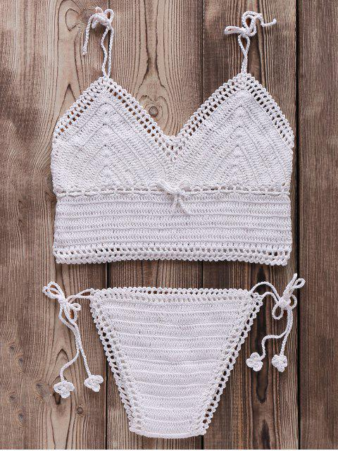 women's Crocheted Spaghetti Straps Bikini Set - WHITE ONE SIZE(FIT SIZE XS TO M) Mobile