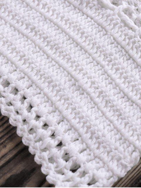 women's Crocheted Spaghetti Straps Bikini Set - WHITE ONE SIZE(FIT SIZE XS TO M) Mobile