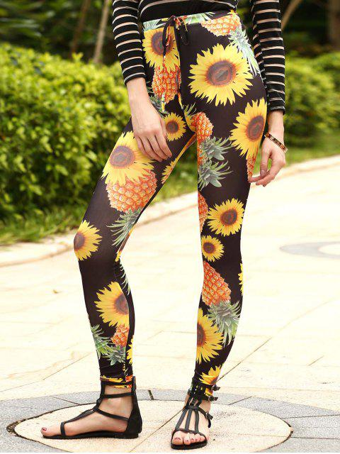 Sun Flower Imprimer Drawstring Narrow Pieds Pantalons - Noir S Mobile