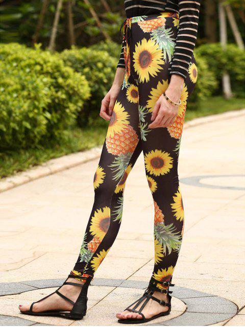 women Sun Flower Print Drawstring Narrow Feet Pants - BLACK S Mobile