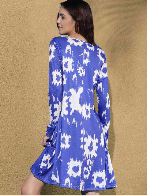 latest Printed Round Collar Long Sleeve Dress - BLUE S Mobile