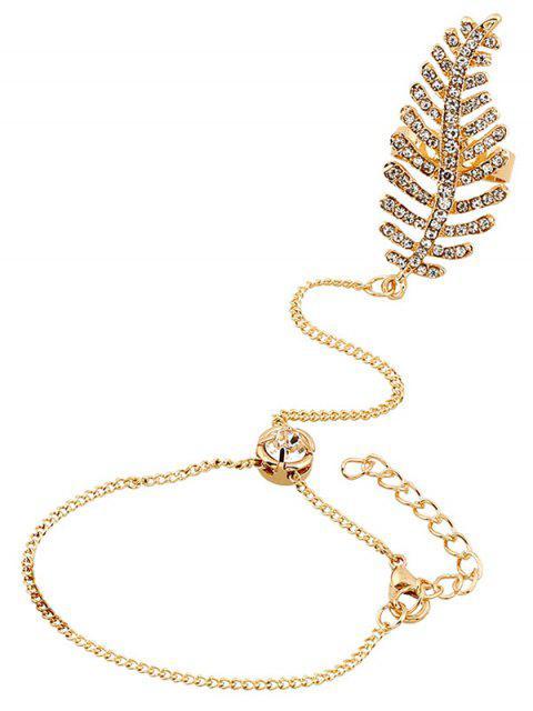 fancy Leaf Rhinestone Ring With Wrist Chain -   Mobile