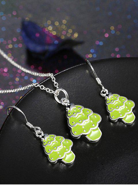 hot Polished Christmas Tree Jewelry Set - NEON GREEN  Mobile