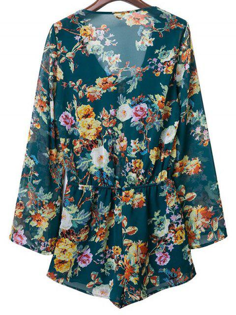 hot Flower Print V Neck Long Sleeve Chiffon Romper - PURPLISH BLUE S Mobile