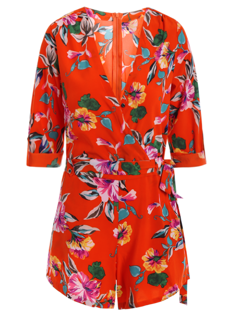 women's Bowknot Floral Print V Neck 3/4 Sleeve Romper - RED S Mobile