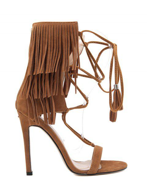 outfits Fringe Lace-Up Stiletto Heel Sandals - BROWN 36 Mobile