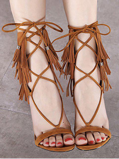 trendy Fringe Lace-Up Stiletto Heel Sandals - BROWN 40 Mobile