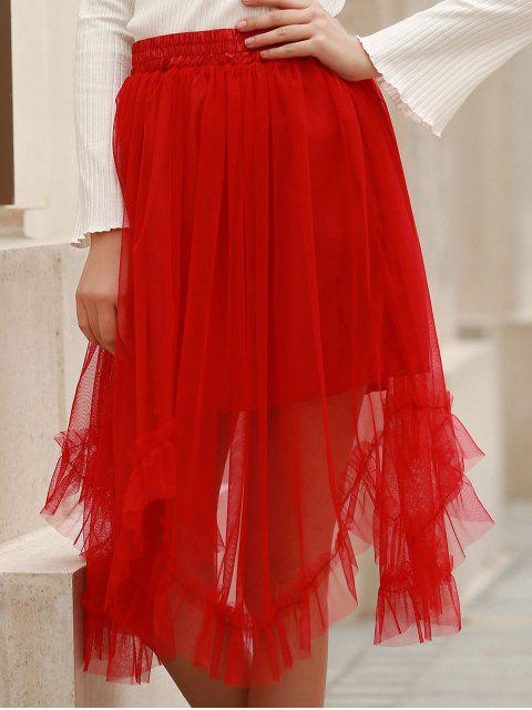 best Solid Color Folded Pleated High Waist A-Line Skirt - RED XL Mobile
