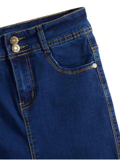 lady Fitted Packet Buttock High Waist Denim Skirt - DEEP BLUE XL Mobile