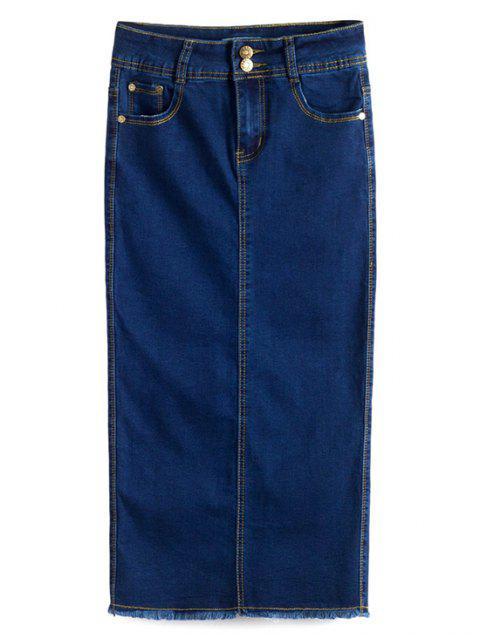 women's Fitted Packet Buttock High Waist Denim Skirt - DEEP BLUE M Mobile