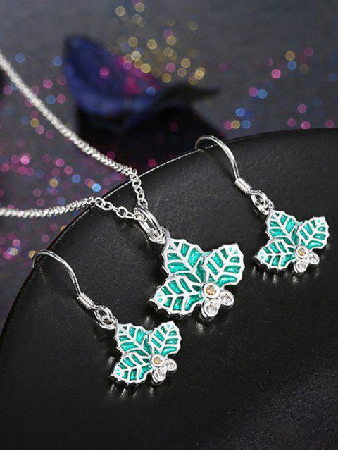 shop Christmas Leaf Enamel Jewelry Set - GREEN  Mobile