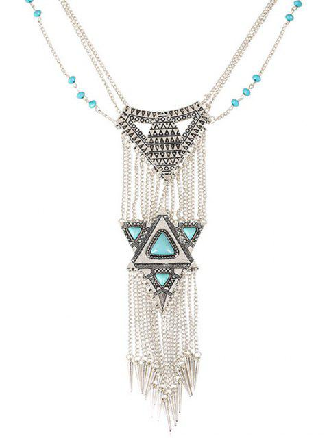 affordable Faux Turquoise Triangle Tassel Necklace -   Mobile