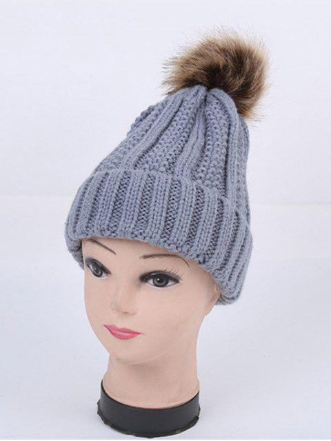 ladies Winter Stripy Flanging Pom Hat -   Mobile