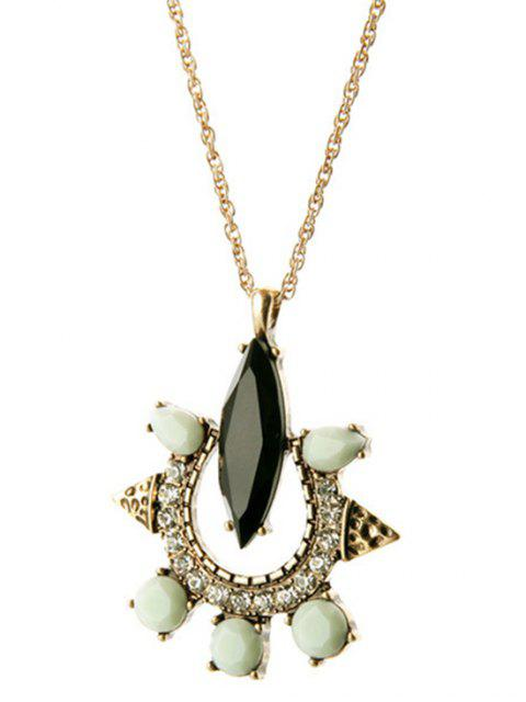 lady Faux Gemstone Rhinestone Necklace - GOLDEN  Mobile
